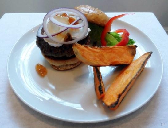 hamburger med chevre og portvingele